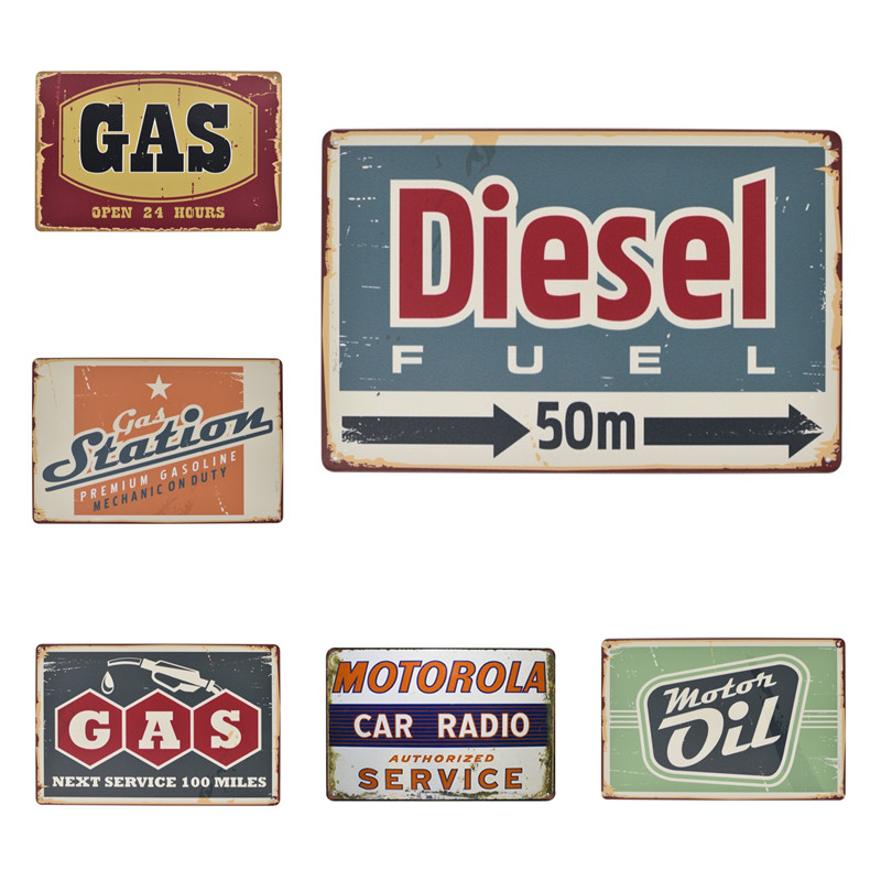 Motor Oil Plaque Vintage Metal Tin Signs Diesel Gas Station Decorative Iron Plates Wall Sticker Art Poster Home Bar Pub 20x30cm image