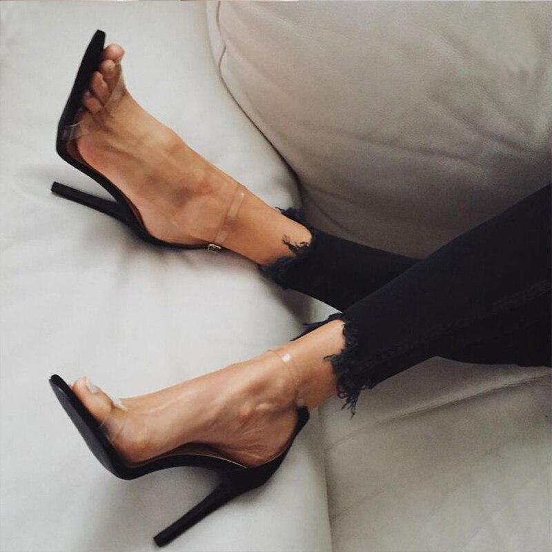 KFASTT talons femmes chaussures 2018 nouvelles sandales gelée bout ouvert talons hauts femmes Transparent Perspex talon chaussures claires talons hauts