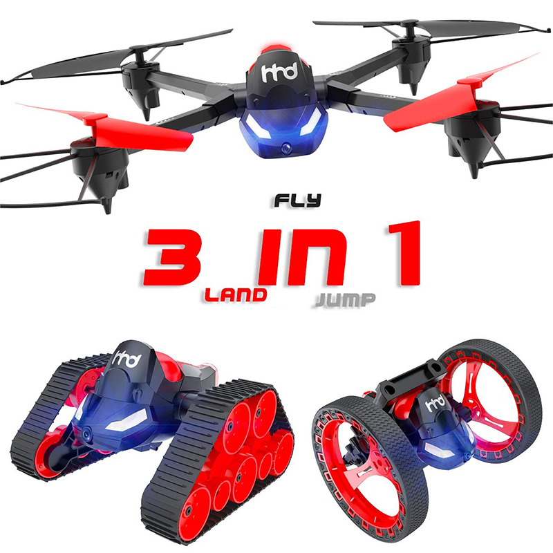 3 In 1 Bounce Car RC Tank Drone with Camera 2.4GHZ Quadcopter Toys Gifts for Kids M093 In 1 Bounce Car RC Tank Drone with Camera 2.4GHZ Quadcopter Toys Gifts for Kids M09