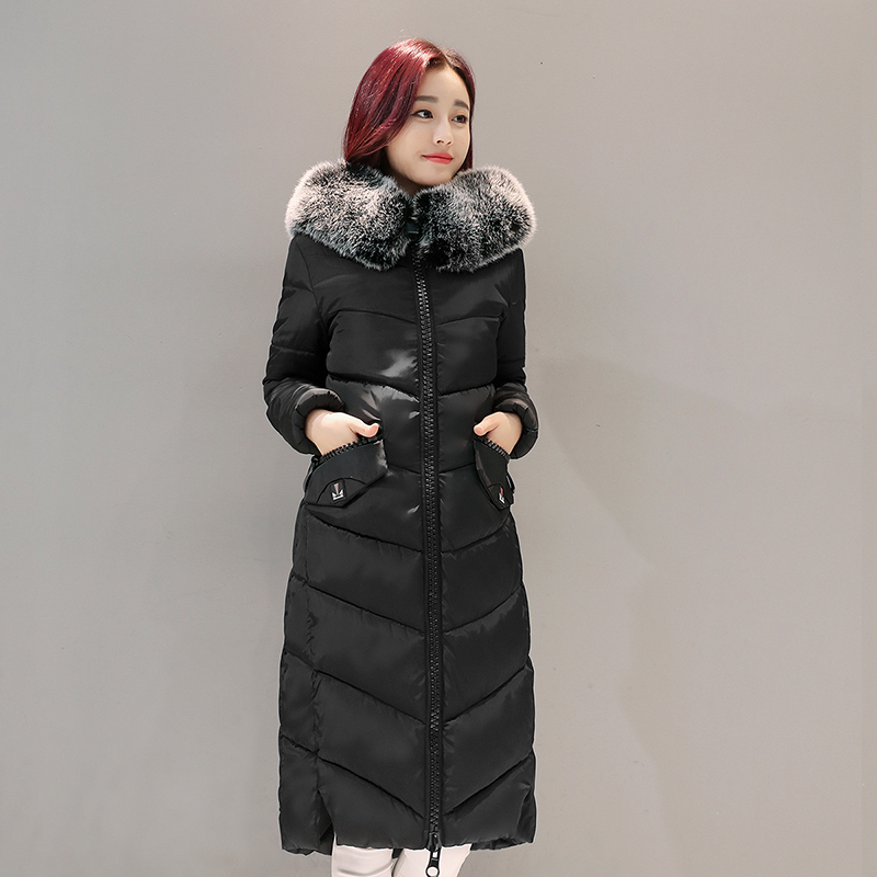 winter coat women Solid color long section Hooded Slim ...