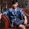 Venta caliente Chino Hombres Bata De Seda Tradicional Impreso Kaftan Kimono Bath Vestido de La Novedad Unisex Pijama de Dormir Más El Tamaño 0001