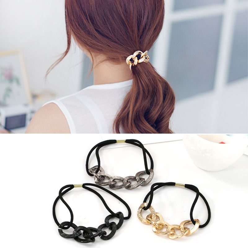 2017 Sale Top Fashion 2pcs Lot Fashion Womens Lady Metal Chain Elastic Hair Band Rope Scrunchie Ponytail Holder For Women