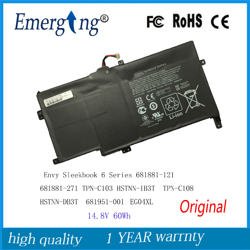 14.8V 60WH New Original Laptop Battery for HP Envy Sleekbook 6 Series 681881-121 681881-271 TPN-C103 HSTNN-IB3T EG04Xl TPN-C108 jigu laptop battery eg04 eg04xl ego4xl hstnn db3t hstnn ib3t tpn c103 tpn c108 for hp envy 6 series envy sleekbook 6