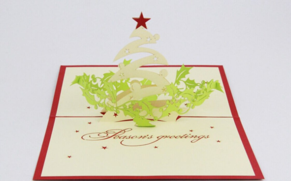 Season' greeting/3D pop up  card/Christmas cardFree shipping creative gifts 3d pop up card greeting