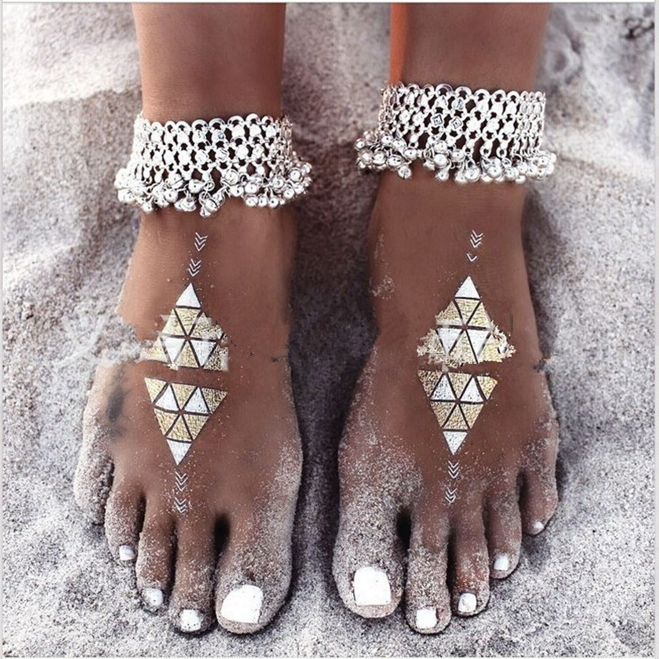 Summer Style Bohemia Barefoot Beach Sandals Bridal Anklet Retro Bell Tassel  Cheville Beach Body Chain Foot