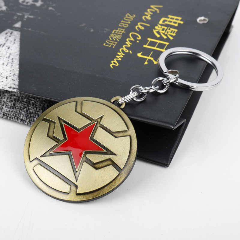 MQCHUN Capitán América. El soldado de invierno llaveros de cinco estrellas Logo de escudo llavero de aleación anillo para los hombres y las mujeres Cosplay regalo-50