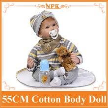 22 Pulgadas de Silicona Renacer Baby Doll Juguetes Para Niña Realista Muñecas Bebé Reborn Juguetes Regalos de Cumpleaños de Navidad Kids Child