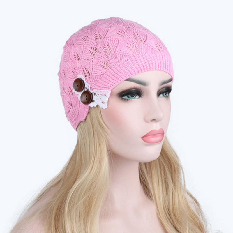 New Women Girls Knitted   Beanies   Autumn Turban Hat Button Hollow Out Leaves Lace Cap Female   Skullies     Beanies   Hats Caps Bigsweety