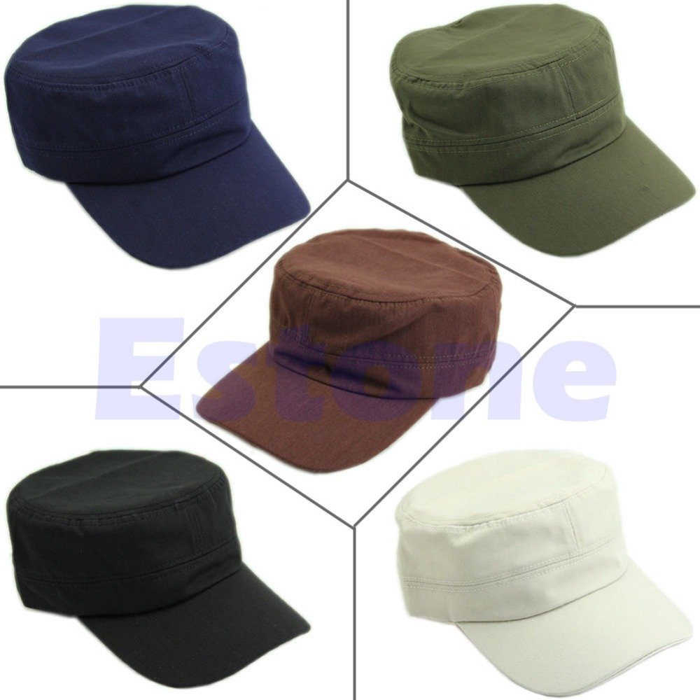 Classic Plain Vintage Adjustable Army Military Cadet Style Cotton Cap Hat