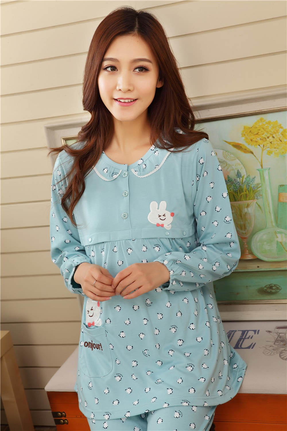Pregnant-Woman-Pajamas-Postpartum-Breastfeeding-Month-Of-Serving-Lapel-Clothes-Long-sleeve-Sleepwear-Suits-CL0800 (8)
