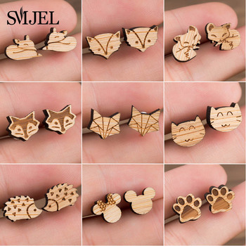 SMJEL Wood Earings Jewelry Cute Animal Fox Stud Earring for Women Girls Kids Mickey Ear Earrings