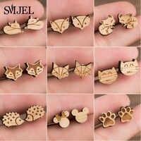 Smjel brincos de madeira jóias bonito animal raposa parafuso prisioneiro brinco para meninas crianças mickey orelha piercing pendientes presentes de festa
