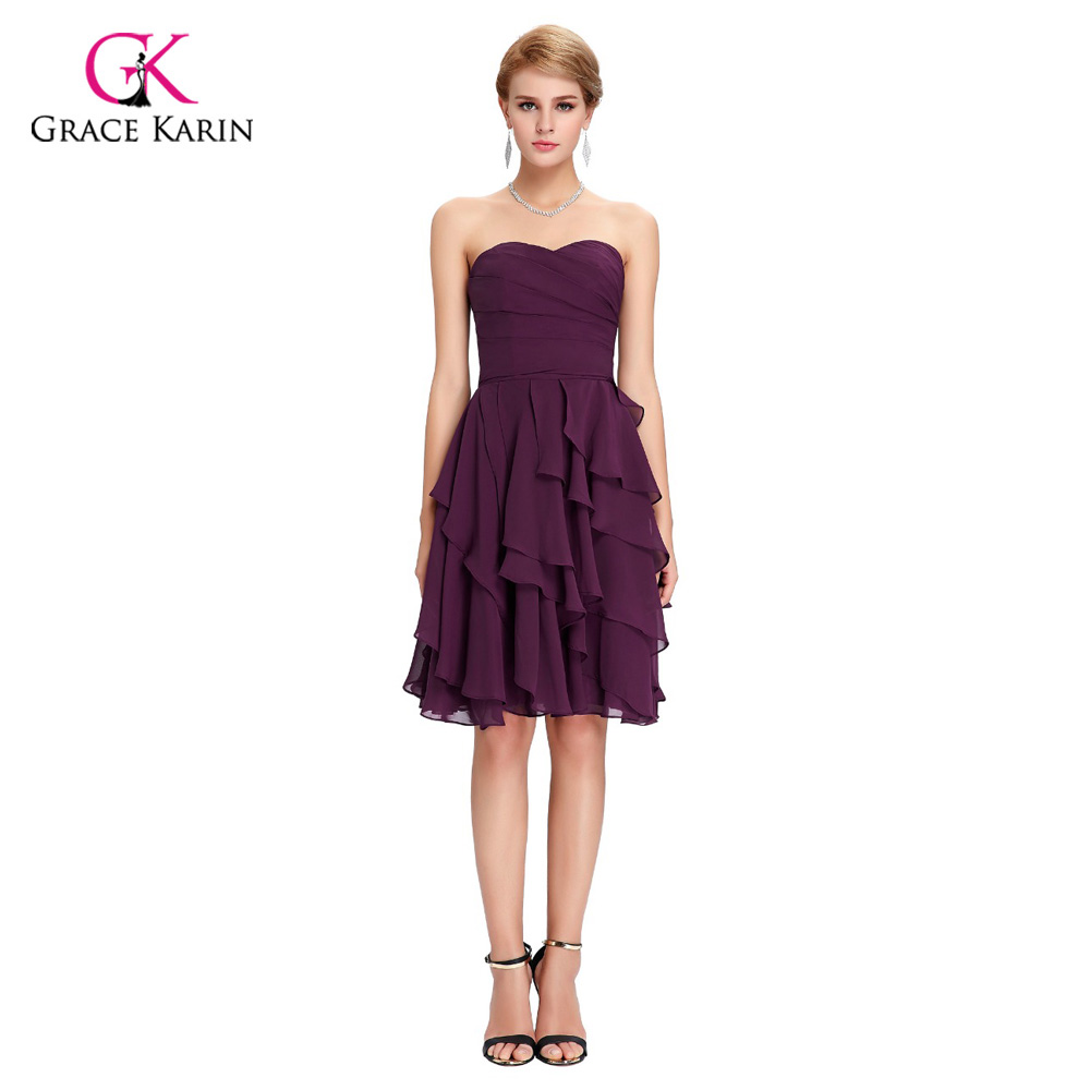 Aliexpress buy modest bridesmaid dresses grace karin cheap aliexpress buy modest bridesmaid dresses grace karin cheap knee length tiered chiffon purple short party dress bridesmaids dresses under 50 from ombrellifo Image collections