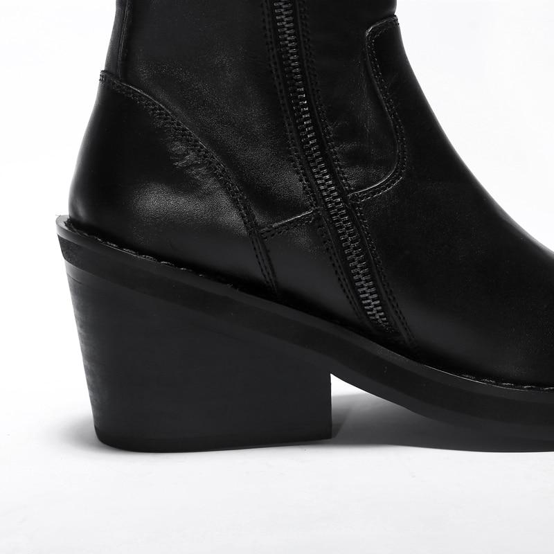 Black Talon De Femelle Qualité Cheville Cuir Automne Femmes Bottes Courtes Haute Confortables Chaussures Punk Femme Véritable Med Bottines BTdxwq1I