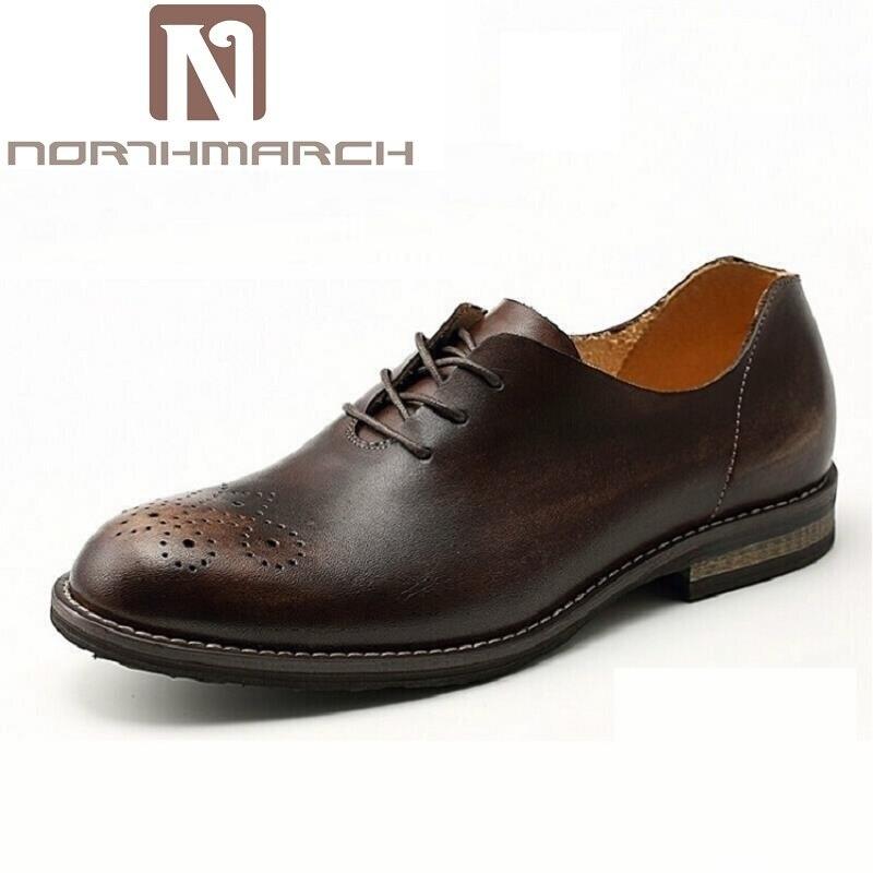 Hochzeit up Kleid brown Männer Schwarzes Northmarch Echtes Schuhe Oxford Geschäfts Lace Geschnitzte Handgefertigte Für Leder Vintage Oxfords wxwq46BFH