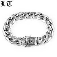 LT Solid 925 Sterling Silver Bracelets Men Smooth High Polish Flower Safe Lock Link Chain Male Biker Silver Bracelet Jewelry