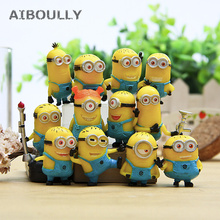 12pcs/set Cute Lovely Minion Miniature Figurines Toys small yellow Man Figures Desktop furnishing models 3cm dolls Kids Gifts