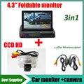 3in1 CCD HD 2.4 G kit inalámbrico con del revés del coche cámara de visión trasera para Nissan Sylphy Teana Altima TIIDA Almera 2013 + monitor del coche