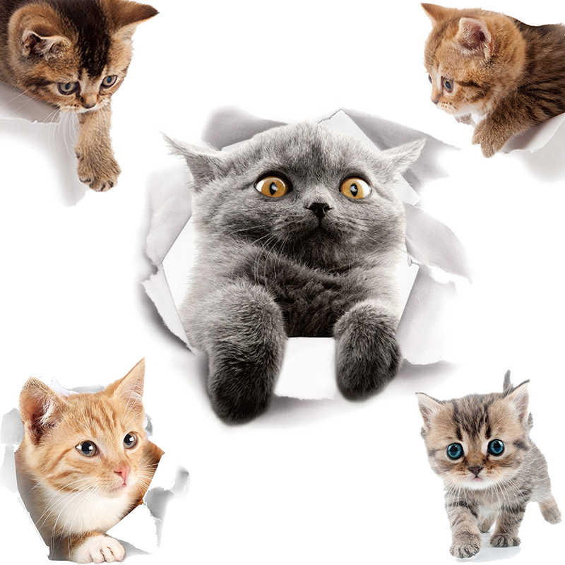 Kartun Hewan 3D Toilet Stiker Di Toilet Kucing Lucu PVC Stiker Dinding Kamar Mandi Pintu Kulkas Dekorasi Stiker