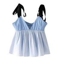Women sexy deep V neck striped camis shirt adjustable strap bow sleeveless pleated shirts summer casual tops