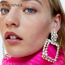 WNGMNGL Punk Luxurious Crystal Drop Earrings 2018 New Hyperbole Geometric Dangle For women Eleglant Fashion Ear Jewelry