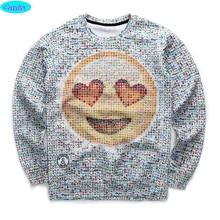 12-18years big kids brand sweatshirt boy youth fashion 3D Emoji  printed hoodies jogger sportwear teens unisex W18