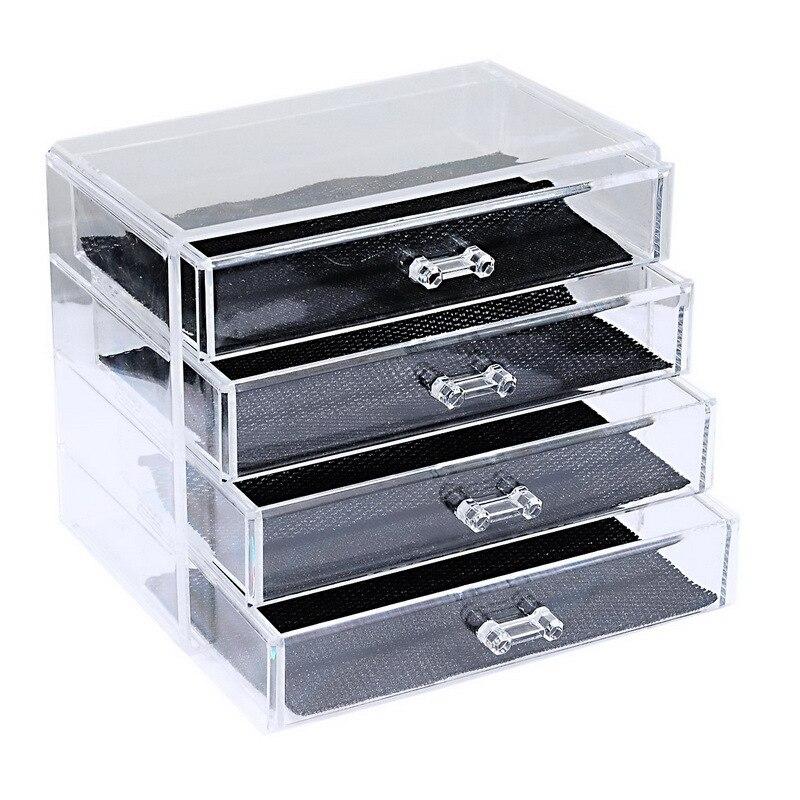 Boîte de rangement claire de boîte de tiroir d'organisateur en plastique de quatre couches pour la boîte de tiroir cosmétique d'organisateur de bijoux