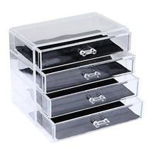 Чистый четыре слоя пластика организатор ящик коробка для хранения ювелирных изделий организатор косметические ящик коробка