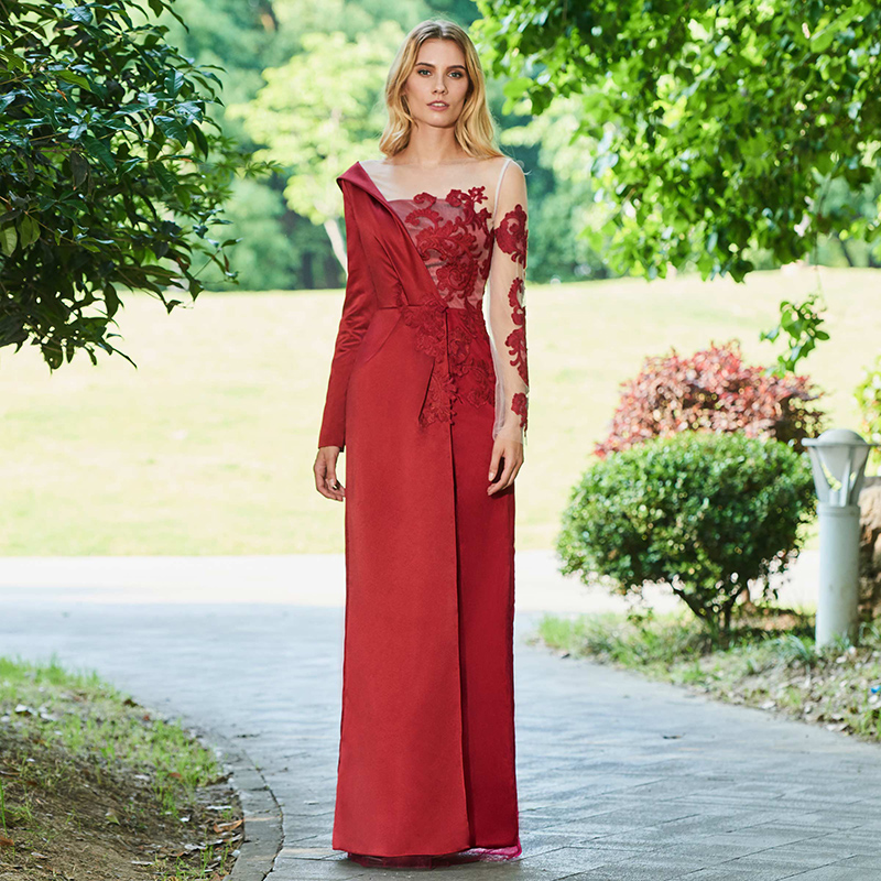 DressV appliques   evening     dress   dark date red full sleeves floor length a line gown women customed formal long   evening     dresses