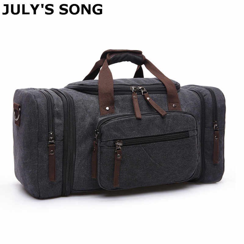 1fb37cff525 JULY S SONG 20.8   Large Canvas Travel Tote Luggage Men s Weekend Duffle  Bag Travel Bag