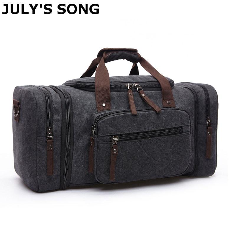 JULY'S SONG 20.8'' Large Canvas Travel Tote Luggage Men's Weekend Duffle Bag Travel Bag /Duffle Bag/Waterproof Canvas Travel Bag