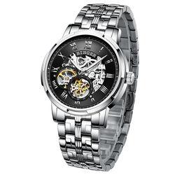 BINGER Hollow Design Skeleton Watch Man's Business Automatic Mechanical Fashion Luminous Wrist Luxury Watches