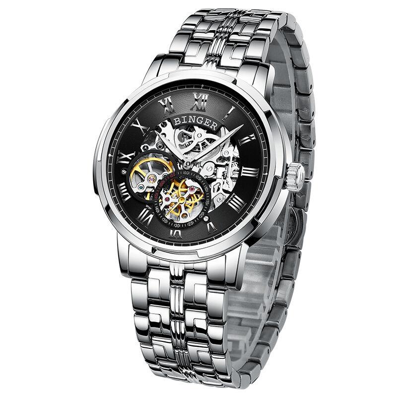BINGER Creux Conception D'affaires de Squelette Montre Homme Automatique Mécanique De Mode Lumineux Poignet montres de luxe