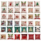 Hoomall 45x45cm Cushion Cover Pillow Case Merry Christmas Decorations for Home Cartoon Elk Linen Decorative Pillows Home Decor