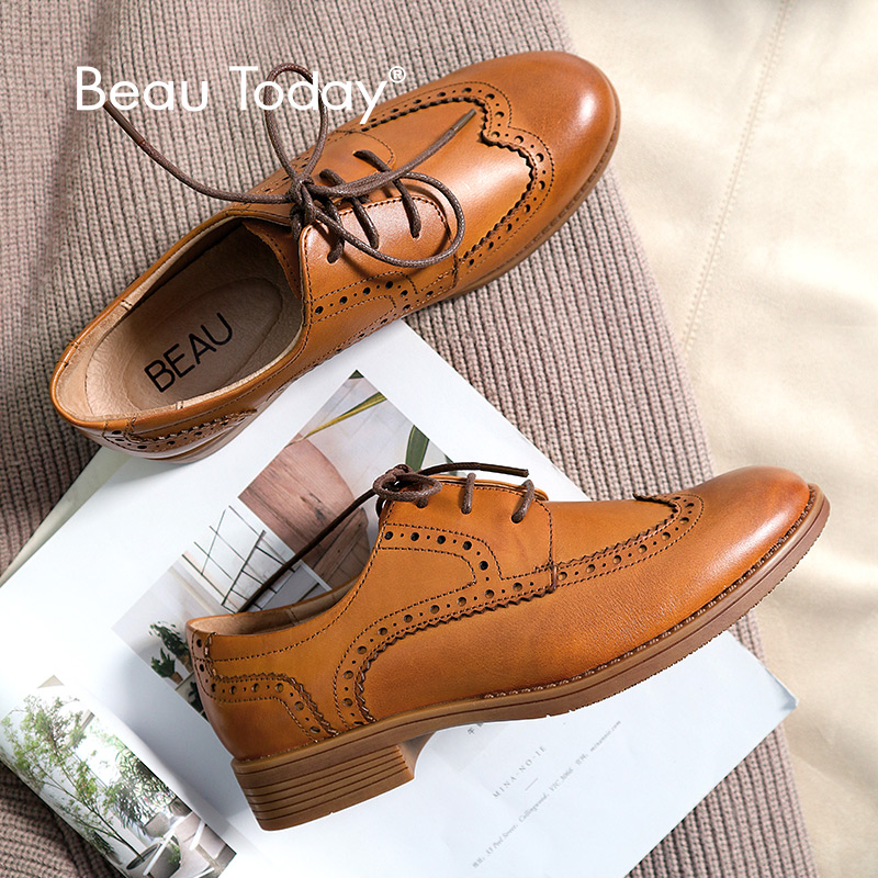 BeauToday Brogue Women Shoes Genuine Leather Calfskin Classical Style Round Toe Brand New Lace-Up Ladies Flats 21414
