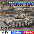 ET 99802 RC Tank 1/20 9CH 27Mhz Infrared RC Battle Tiger T90 Tank Cannon & Emmagee Remote Control Tank Fort Rotate Fighting Tank