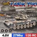 ET 99802 Tanque RC 1/20 9CH 27 Mhz Infravermelho RC Batalha de Tigre T90 Tanque Canhão & Emmagee Forte Girar Combate Do Tanque De Controle Remoto tanque