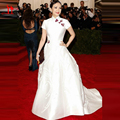 2016 Met Gala Celebrity Dresses zhang zi yi High Neck Real Picture Vintage Short Sleeve Satin Ball Gown Long Formal Red Carpet