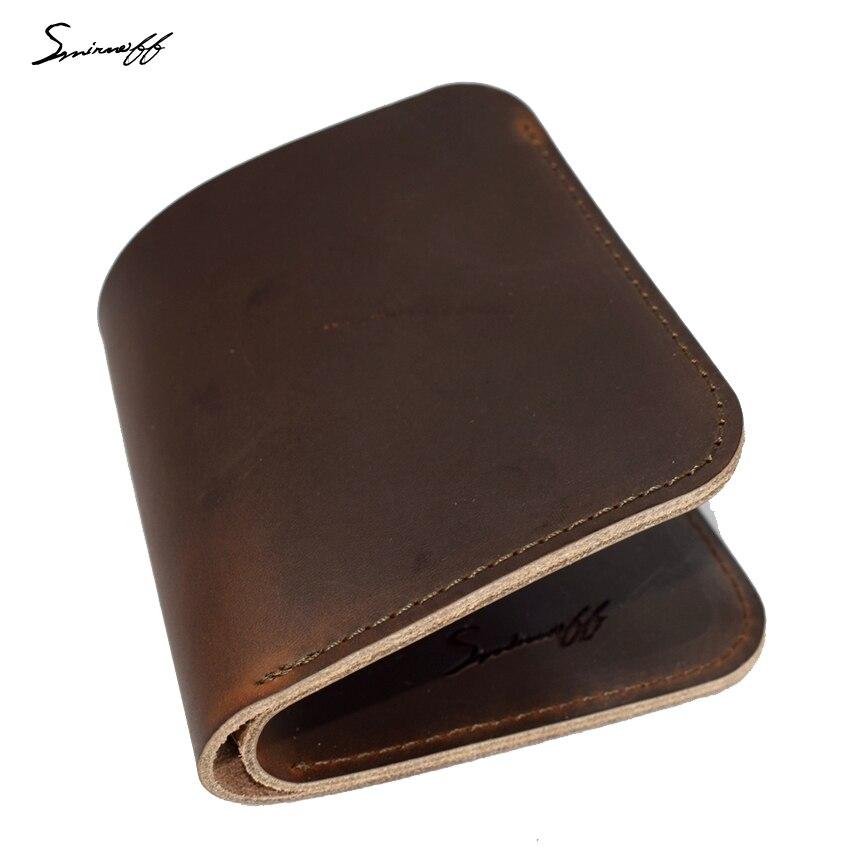 SMIRNOFF 2017 New Retro Cowboy Leather Purse Bag Handmade Custom Name Gift Short Wallet Leather Luxury Simple Style Men Wallet