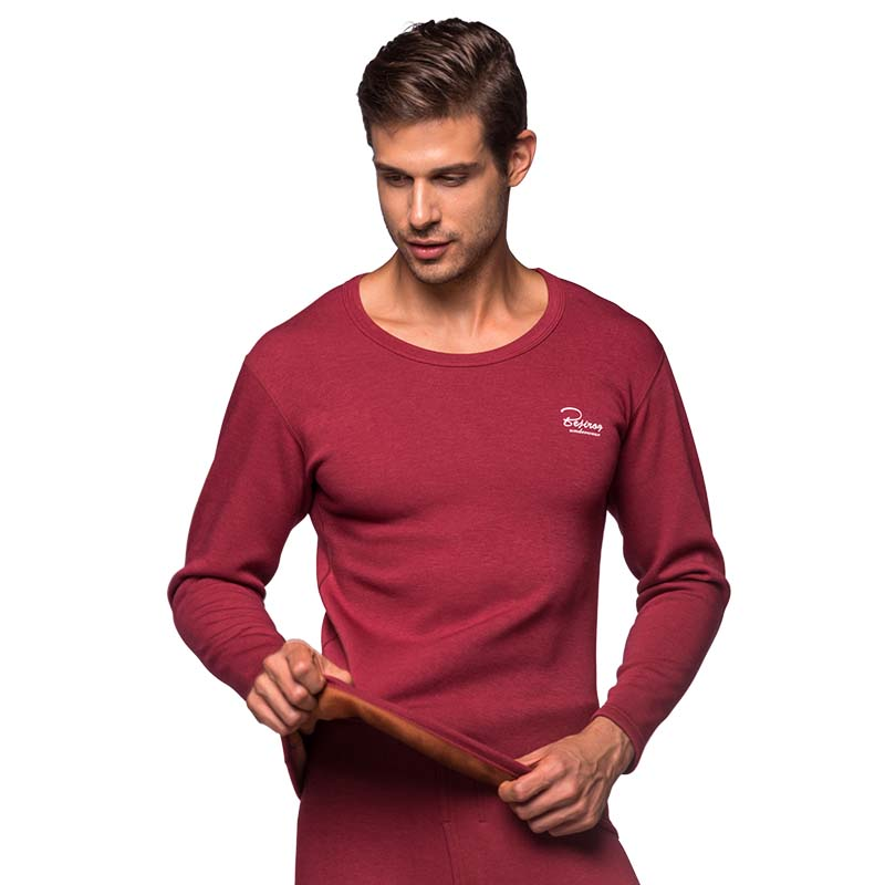 Winter Warm Clothes for Men Thermal Underwear Women Solid Cotton Long Johns Set Winter Soft O Neck Suits Tops+Pants Long Johns     -