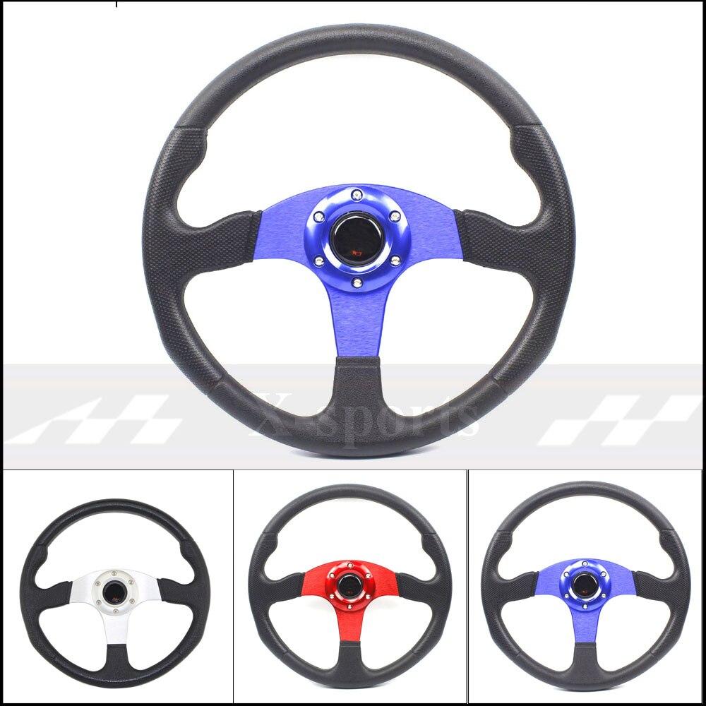 Universel 14 pouces 350MM aluminium PU Sport volant course type volante 2 couleur rouge bleu argent livraison gratuite MO