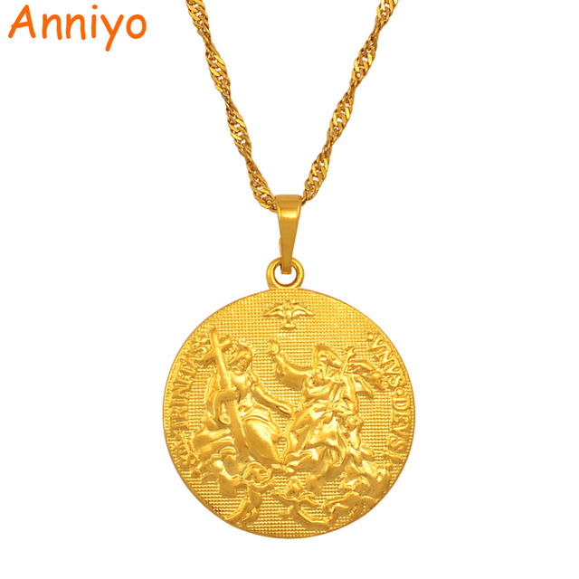 Anniyo Holy Spirit Cupid Jesus Necklace Pendant Gold Color Cross Necklaces for W