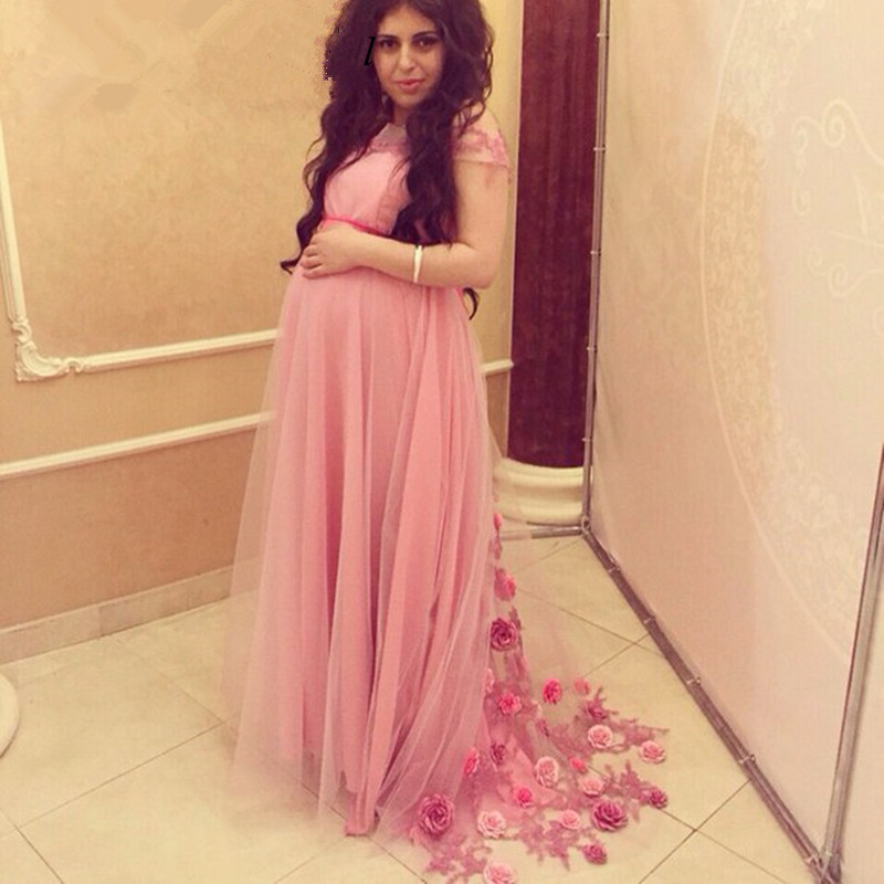2018 Hot Sale Cap Sleeve Pink Long Pregnant Women Handmade Flowers Maternity Evening Prom Gown Mother Of The Bride Dresses