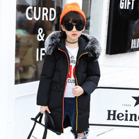 Children Girl Winter Parka Kids Down Coat and Jacket High Fur Collar Solid Teenagers Girls Clothes Kids Hooded Jacket TZ75