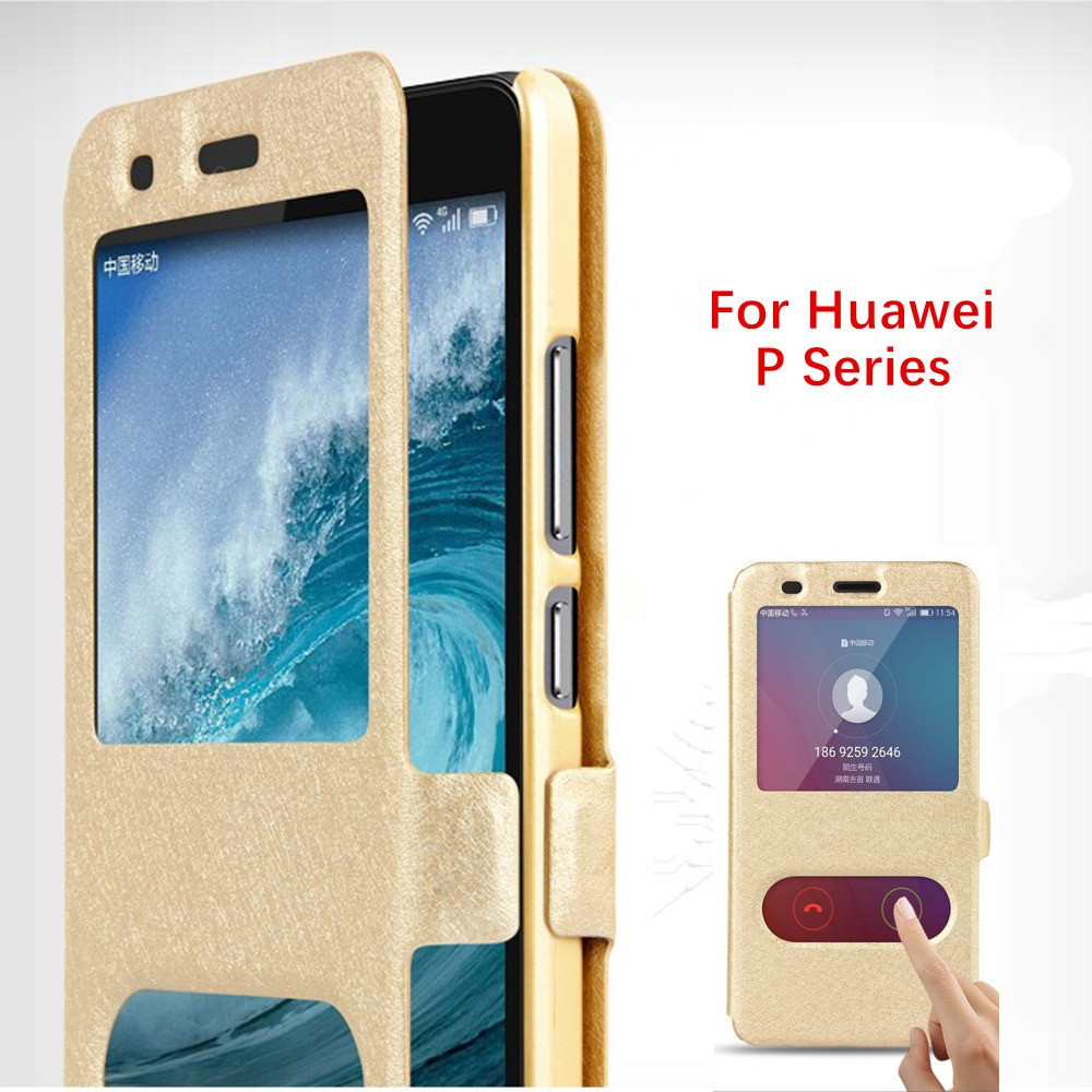 For Huawei P20 P10 Lite Plus Pro PC Leather Window Flip Case For Huawei P 10 20 Lite Smart P8 P9 Lite mini 2017 Cover Cases in Flip Cases from Cellphones Telecommunications