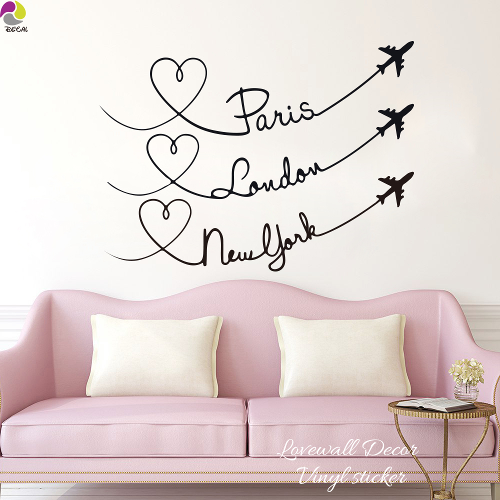 Wunderschön New York Wandtattoo Dekoration Von Paris London Zitieren Reiseflugzeuge Wand Stikcer Schlafzimmer