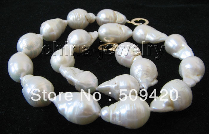 ~~  ShippingHuge 22mm white Reborn Keshi baroque FW pearl necklace-14KGP~~  ShippingHuge 22mm white Reborn Keshi baroque FW pearl necklace-14KGP