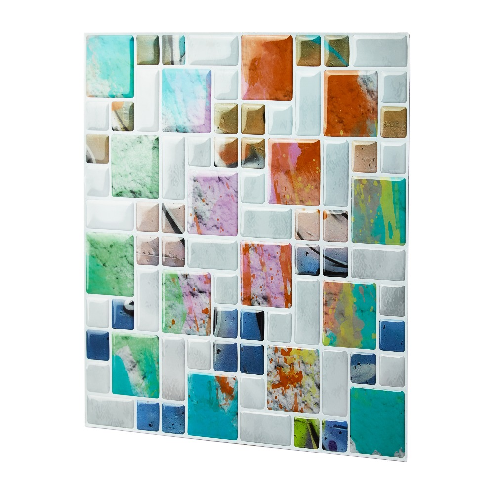 3D Colourful Kitchen or Bathroom Peel and Stick Backsplash Mosaic ...