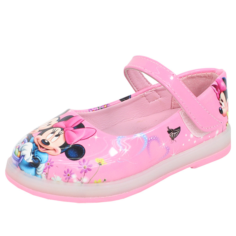Girls Princess  Minnie Mickey Mouse Sandals With New LED Light Soft Kids Cartoon Shoes Europe Size 26-30