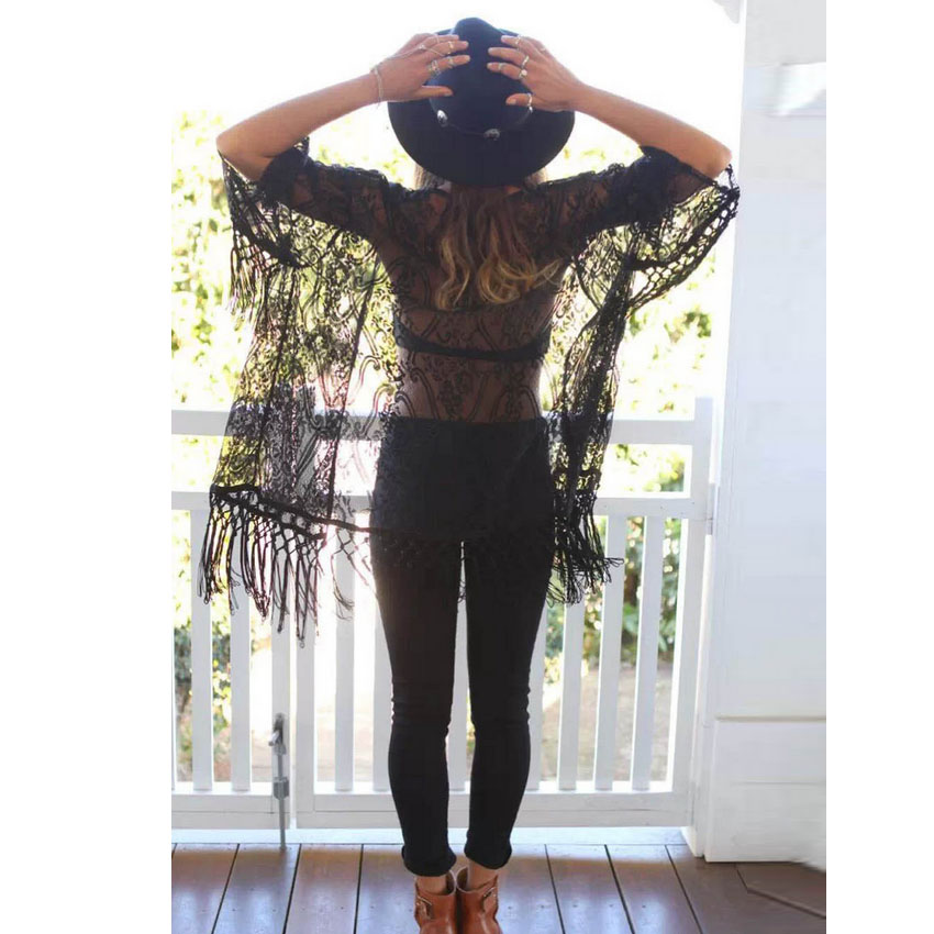 2015 New Summer Women Trendy Casual Print Loose Lace Kimono Cardigan Sheer Tassels Fringed Shirt Jacket Button Blouses Tops - Sexy Woman Line store